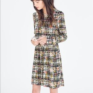 Zara Fit and Flare Printed Dress Long Sleeve